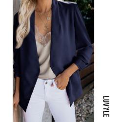 Dark Blue Band Collar Plain Basic Blazers