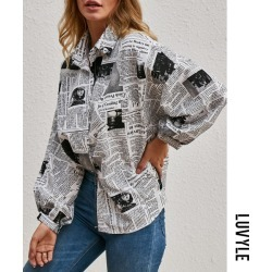 Black Fashion Letter Print Shirt