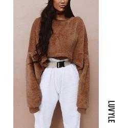 Brown Round Neck Loose Fitting Exposed Navel Plain Sweatshirts