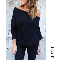 Black Open Shoulder Plain Batwing Sleeve Sweaters