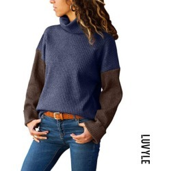 Purple High Neck Patchwork Sweaters