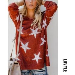Red Round Neck Geometric Basic Sweaters