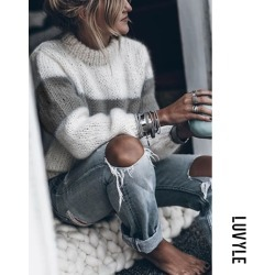 Gray High Neck Color Block Patchwork Sweaters