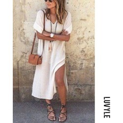 White V Neck Side Slit Plain Casual Dresses