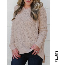 Beige Hooded Drawstring Plain Casual Sweaters