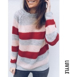 Pink Crew Neck Striped Casual Sweaters
