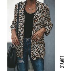 Brown Leopard Print Fold Over Collar Leopard Printed Blazers