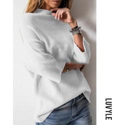 White Heap Collar Bell Sleeve Three Quarter Sleeve Sweaters