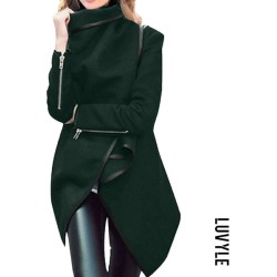 Army Green Lapel Plain Front Wrapped Outerwear