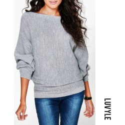 Gray Round Neck Plain Batwing Sleeve Sweaters