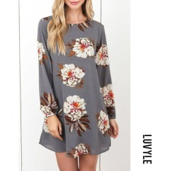 Gray Round Neck Bowknot Back Hole Floral Printed Casual Dresses