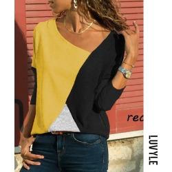 Black Asymmetric Neck Patchwork Contrast Stitching T-Shirts