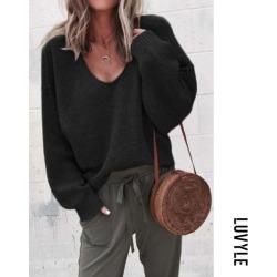 Black Casual Plain Long Sleeve Sweaters