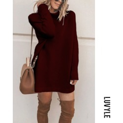 Claret Red High Neck Plain Long Sleeve Sweaters