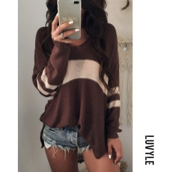 Brown V Neck Knit Hollow Out Sweaters