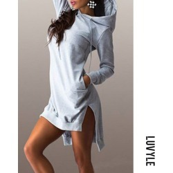 Gray Hooded Asymmetric Hem Drawstring Plain Casual Dresses