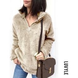 Khaki Band Collar Zipper Plain Sweaters