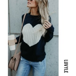 Dark Blues Round Neck Heart Sweaters