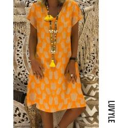 Orange V neck pineapple print casual dress