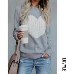 Gray Round Neck Heart Sweaters