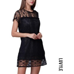 Black Round Neck Tassel Lace Plain Casual Dresses