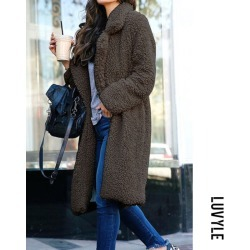 Dark Grey Fashion Lapel Long Sleeve Plain Casual Coats