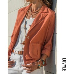 Orange Red Fold Over Collar Solid Collar Patch Pockets Blazers