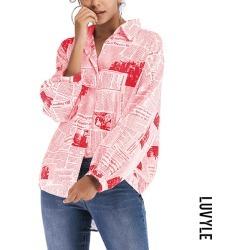 Red Fashion Letter Print Shirt