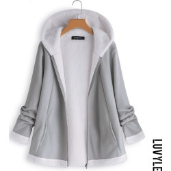 Gray Hooded Slit Pocket Zips Plain Long Sleeve Coats