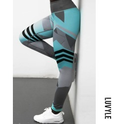 Blue High-Waisted Printed Leggings For Women