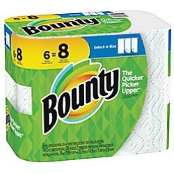 Bounty Select-A-Size 2-Ply Paper Towels, 11 x 5 15/16, White, Pack Of 6 Big Rolls found on Bargain Bro from  for $12.39