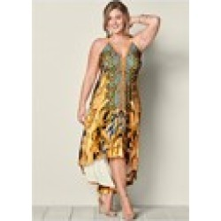 PLUS SIZE LOW BACK PRINTED MAXI DRESS found on Bargain Bro from  for $34.99