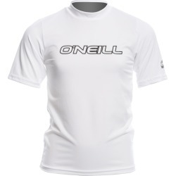 O'neill Youth Basic Skins Short Sleeve Rash Tee Shirt - White 14 Spandex - Swimoutlet.com