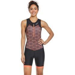 2Xu Women's Active Tri Suit - Black/Sherbert Line Print Large - Swimoutlet.com