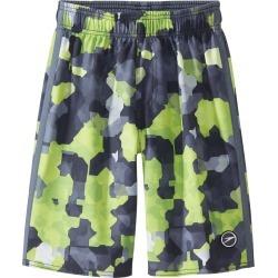 "Speedo Boys' Geo Camo Volley 18"" Swimsuit Big Kid - Black Xxs Size X-Small - Swimoutlet.com"