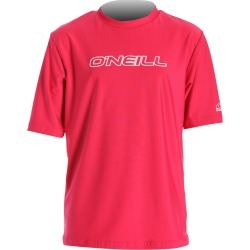 O'neill Youth Basic Skins Short Sleeve Rash Tee Shirt - Watermelon 6 Spandex - Swimoutlet.com