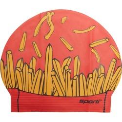 Sporti French Fries Latex Swim Cap - Red - Swimoutlet.com