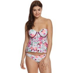 Betsey Johnson Prisoner Of Love Underwire Bump Me Up Tankini Top - White/Multi Small Nylon/Spandex - Swimoutlet.com