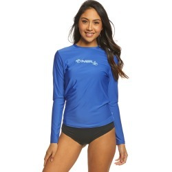 O'neill Women's Basic Skins Long Sleeve Surf Tee Shirt - Tahitian Blue Medium - Swimoutlet.com