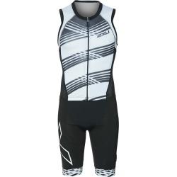 2Xu Men's Compression Full Zip Tri Suit - Black/Black White Lines Medium - Swimoutlet.com