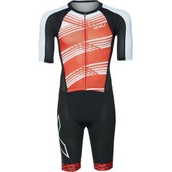 2Xu Men's Compression Full Zip Sleeved Tri Suit - Black/White Flame Lines Medium - Swimoutlet.com