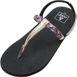 Reef Girls' Little Twisted T Strap Sandals Toddler Kid Big Kid - Black/Pewter 11/12 - Swimoutlet.com