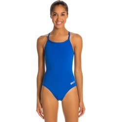 Arena Women's Master Maxlife Sporty Thin Strap Racer Back One Piece Swimsuit - Royal 30 Polyester/Pbt - Swimoutlet.com