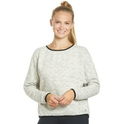 Mpg Women's Zine Crop Cover Up Top - Heather Marble Stripe Xl Cotton/Polyester - Swimoutlet.com