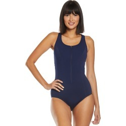 Amoena Mastectomy Key West Zip One Piece Swimsuit B/C/D Cup - Dark Navy 14B Polyester - Swimoutlet.com