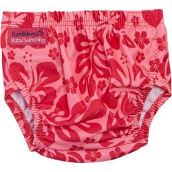 Konfidence Designer Adjustable Swim Diaper Baby - Pink Hibiscus One Size Cotton - Swimoutlet.com