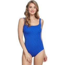 Gottex Jazz Texture Square Neck One Piece Swimsuit - Sapphire 14 - Swimoutlet.com