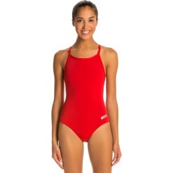 Arena Women's Master Maxlife Sporty Thin Strap Racer Back One Piece Swimsuit - Red 30 Polyester/Pbt - Swimoutlet.com