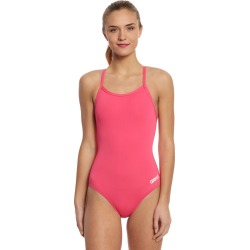 Arena Women's Master Maxlife Sporty Thin Strap Racer Back One Piece Swimsuit - Fresia Rose 30 Polyester/Pbt - Swimoutlet.com