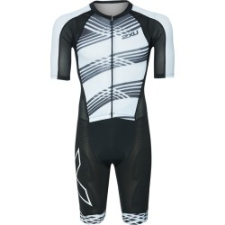2Xu Men's Compression Full Zip Sleeved Tri Suit - Black/Black White Lines Medium - Swimoutlet.com